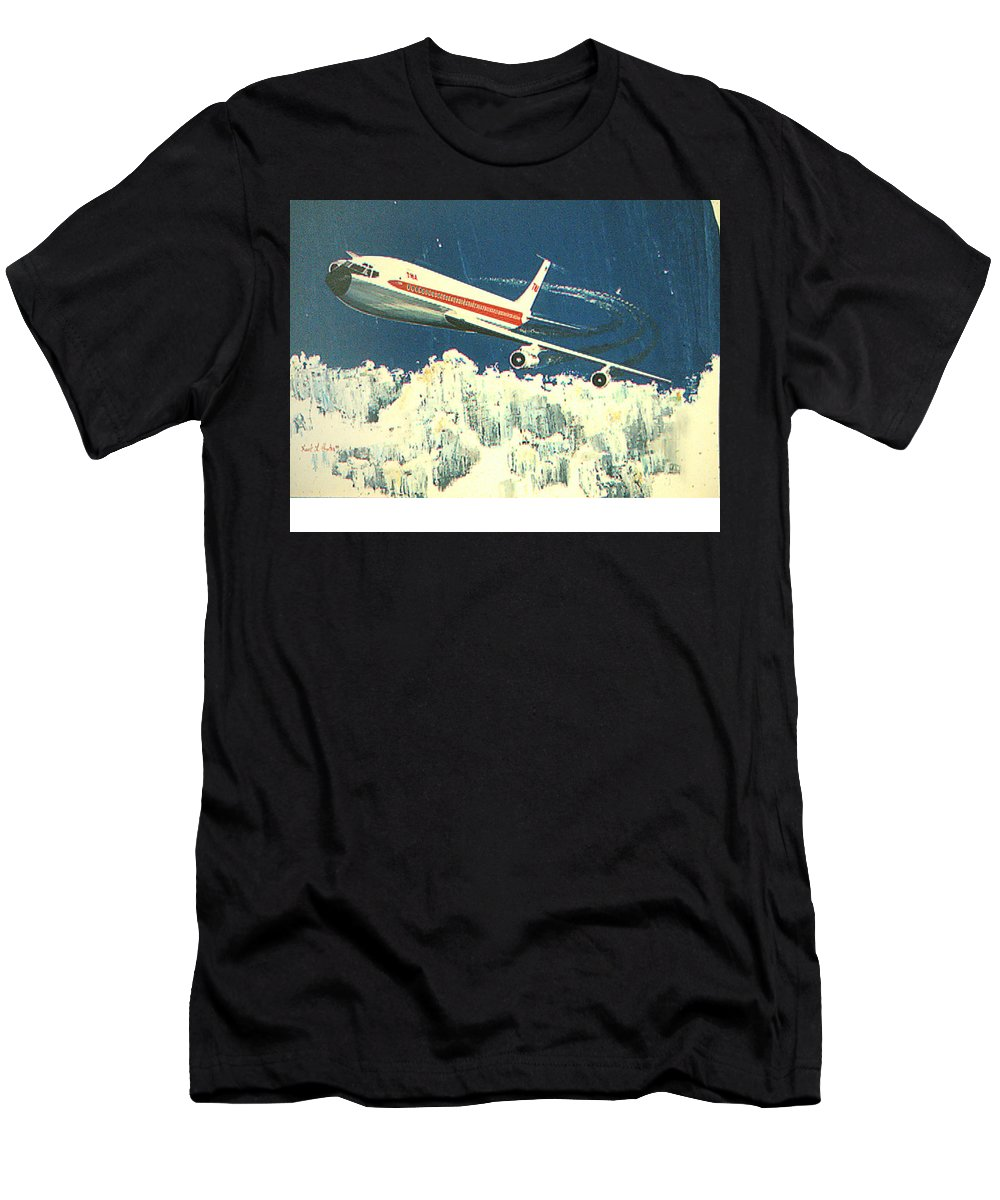 Boeing 707 Men's T-Shirt (Athletic Fit) featuring the painting 707 In The Air by Frank Hunter
