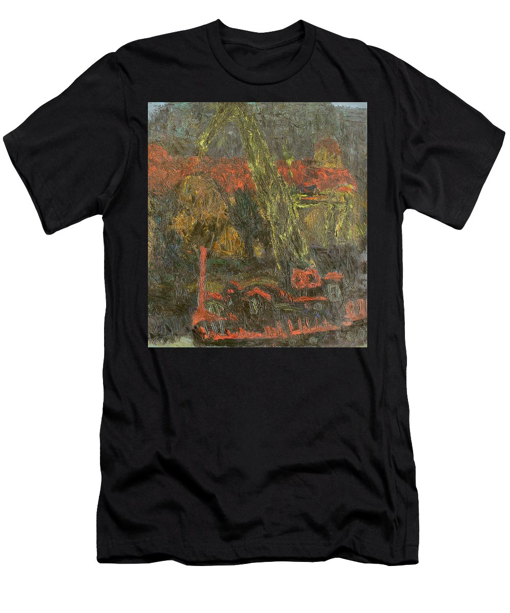 Quay Men's T-Shirt (Athletic Fit) featuring the painting Evening by Robert Nizamov