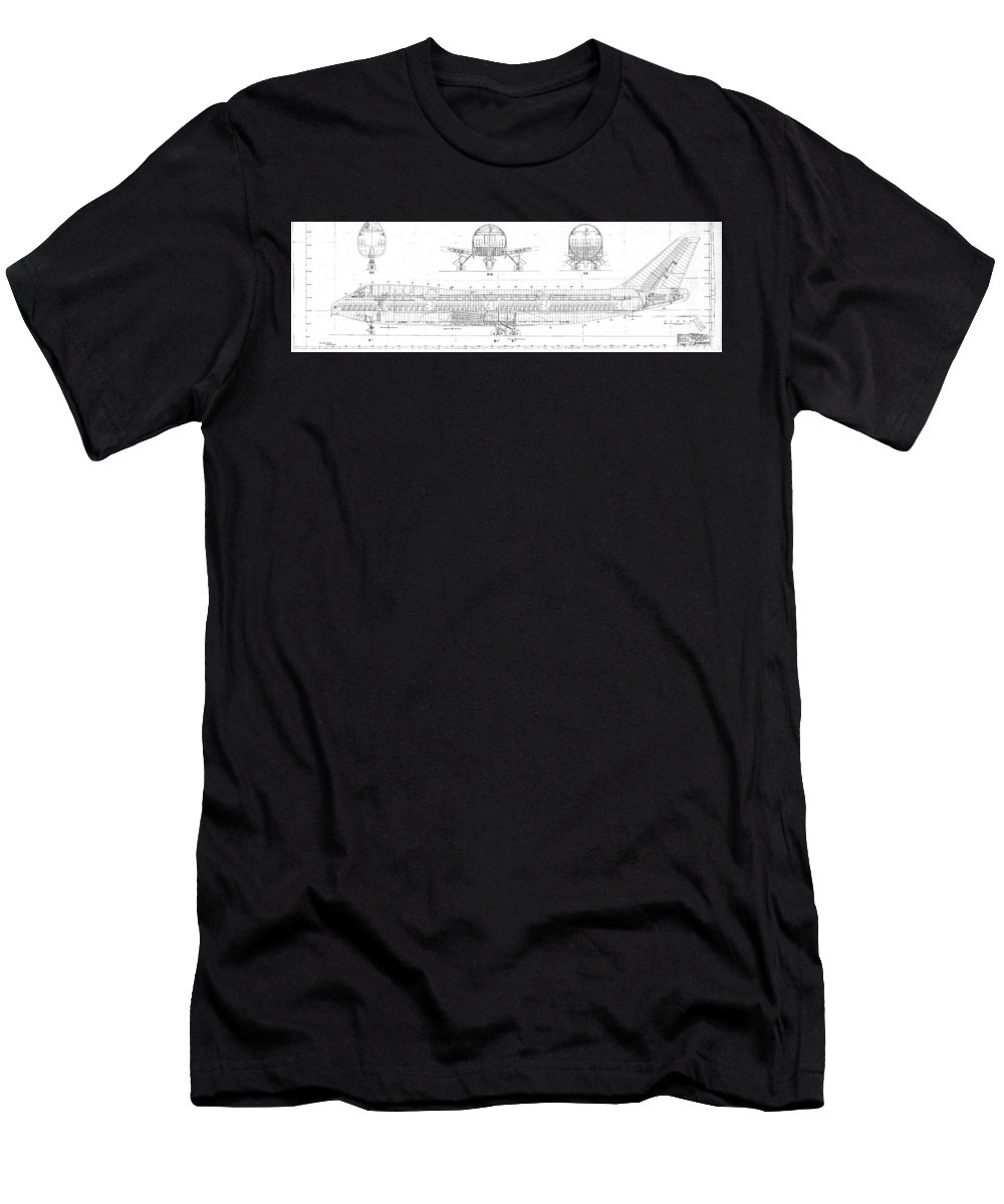 Men's T-Shirt (Athletic Fit) featuring the drawing 747 by Bruno Monte