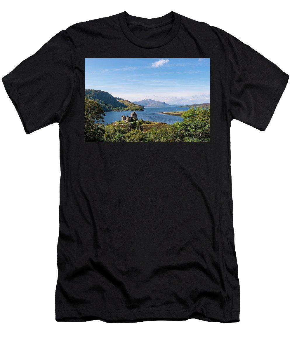 Men's T-Shirt (Athletic Fit) featuring the photograph 76. Eilean Donan Castle, Scotland by Daron Lomax