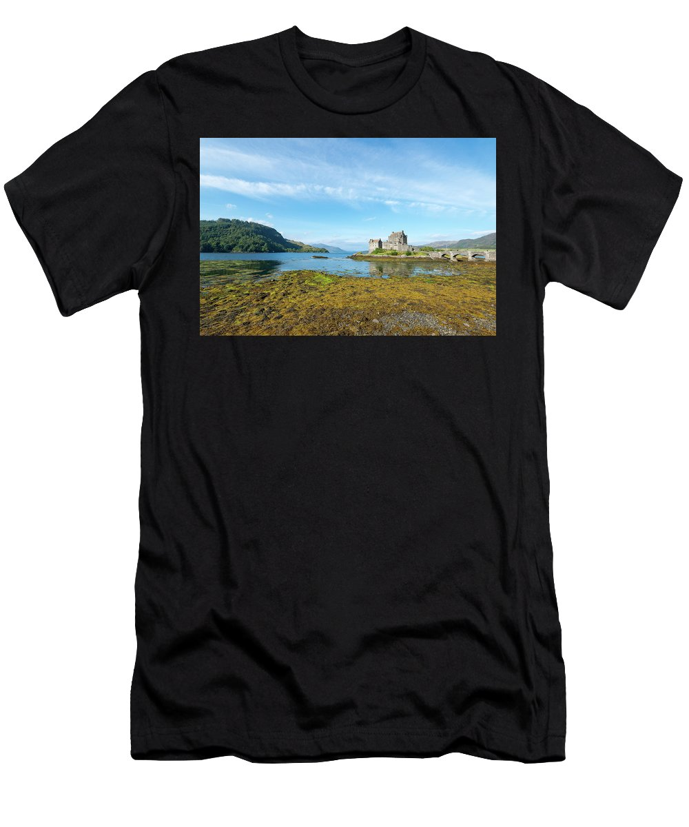 Men's T-Shirt (Athletic Fit) featuring the photograph 77. Eilean Donan Castle, Scotland by Daron Lomax