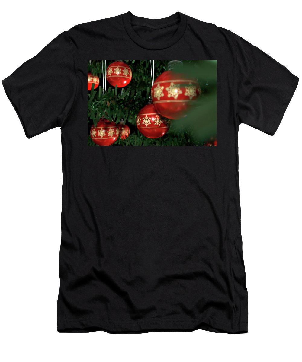 Adornment Men's T-Shirt (Athletic Fit) featuring the digital art Christmas Baubels In A Tree by Allan Swart