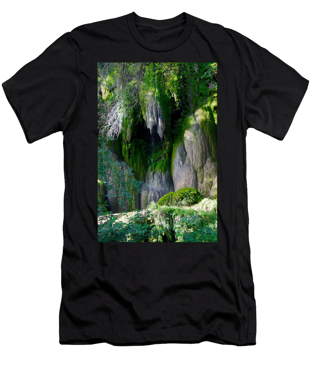 James Smullins Men's T-Shirt (Athletic Fit) featuring the photograph Gormon Falls Colorado Bend State Park. by James Smullins