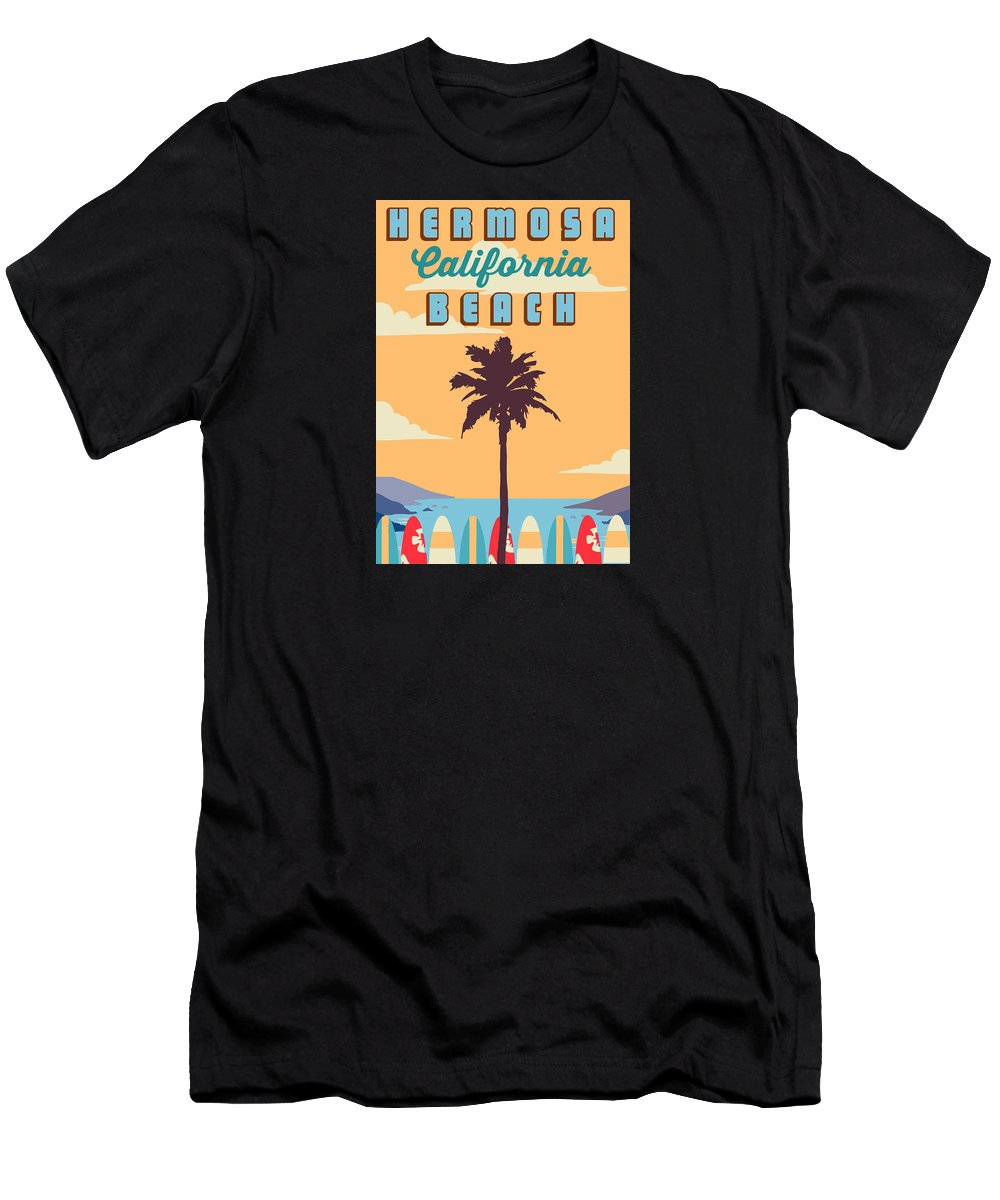 Hermosa Beach Men's T-Shirt (Athletic Fit) featuring the digital art Hermosa Beach. by American Roadside