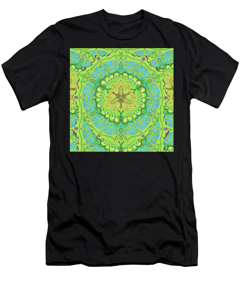 India Men's T-Shirt (Athletic Fit) featuring the digital art Indian Fabric Pattern by Sandrine Kespi