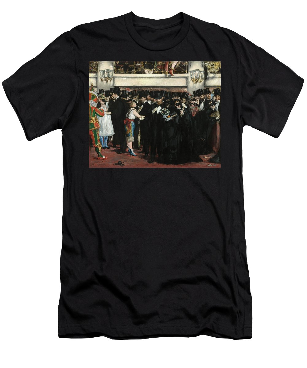 Edouard Manet Men's T-Shirt (Athletic Fit) featuring the painting Masked Ball At The Opera by Edouard Manet