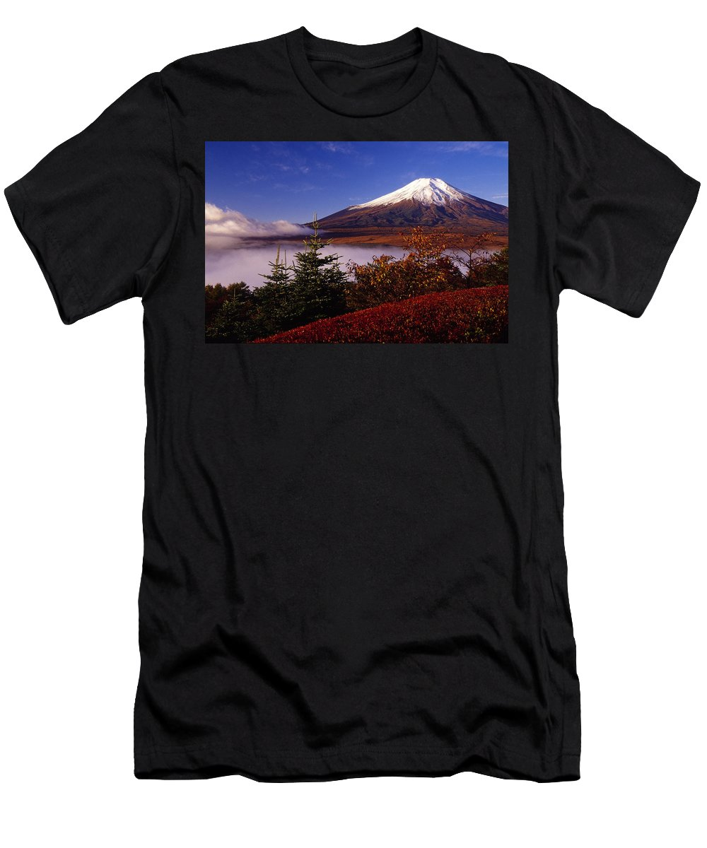 Japan Men's T-Shirt (Athletic Fit) featuring the photograph Mount Fuji In Autumn by Michele Burgess