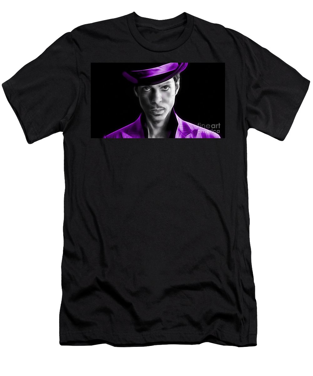 Prince Men's T-Shirt (Athletic Fit) featuring the mixed media Prince Tribute by Marvin Blaine