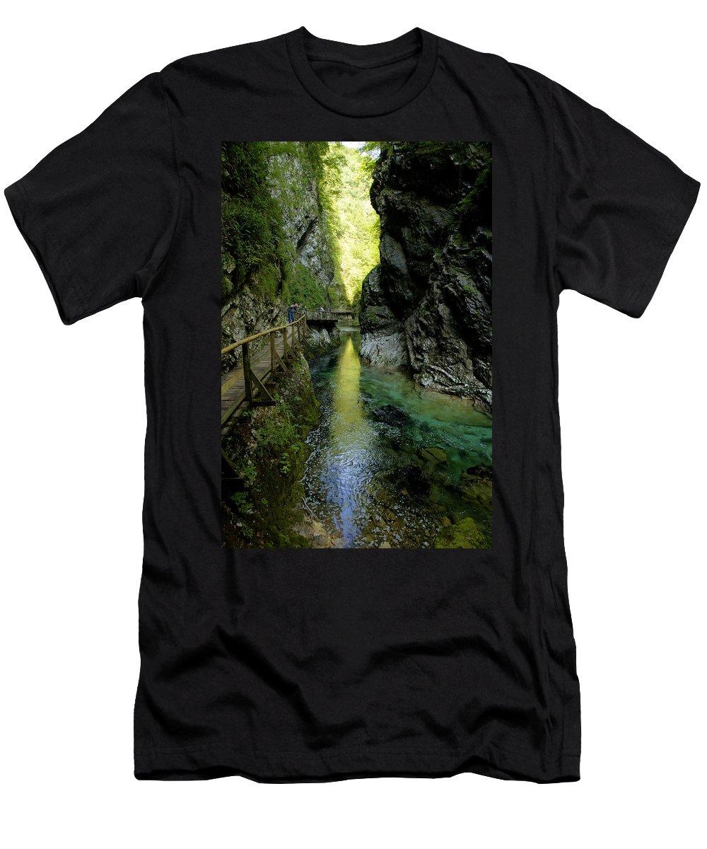 Vintgar Men's T-Shirt (Athletic Fit) featuring the photograph The Vintgar Gorge by Ian Middleton