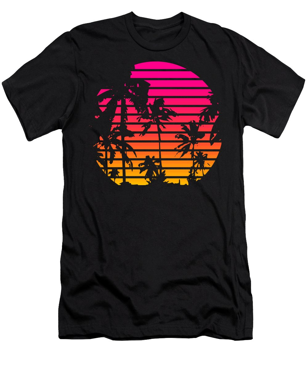 Sun T-Shirt featuring the mixed media 80s Tropical Sunset by Filip Schpindel