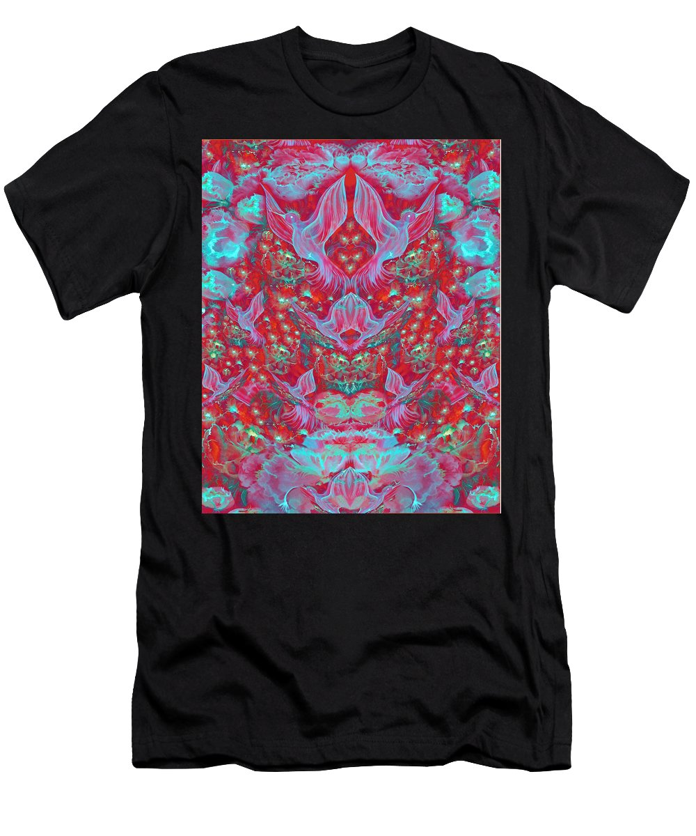 Floral Men's T-Shirt (Athletic Fit) featuring the digital art Birds Symphony by Sandrine Kespi