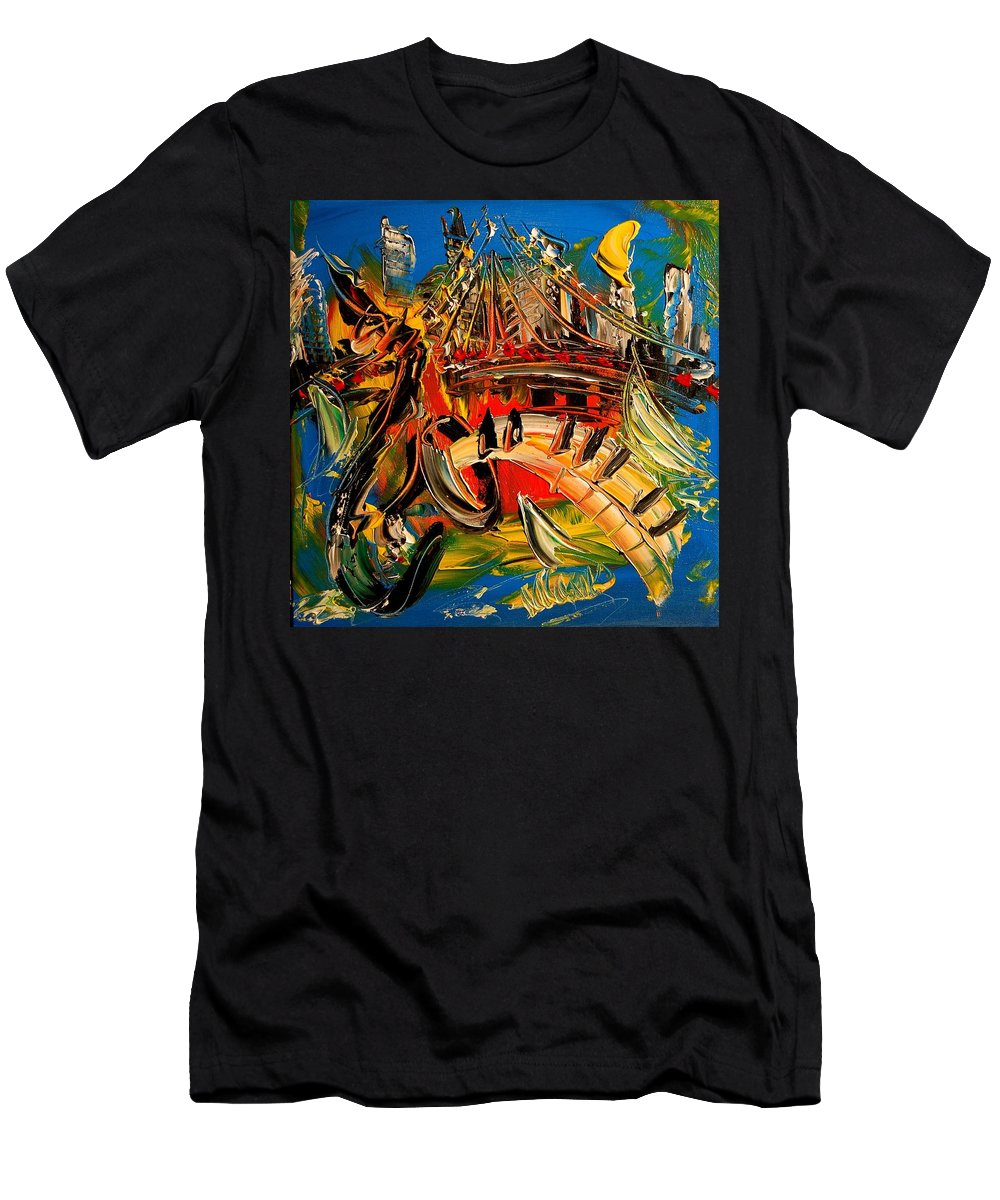 Impressionist Framed Prints Men's T-Shirt (Athletic Fit) featuring the mixed media Saxophone by Mark Kazav