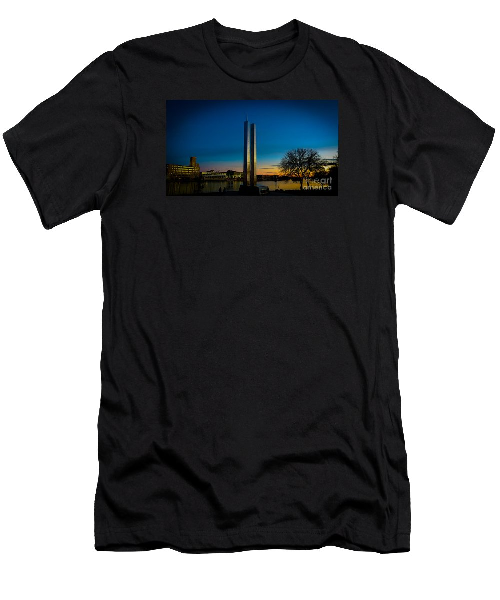 911 Memorial Men's T-Shirt (Athletic Fit) featuring the photograph 911 Memorial Green Bay Wi by Stephanie Forrer-Harbridge