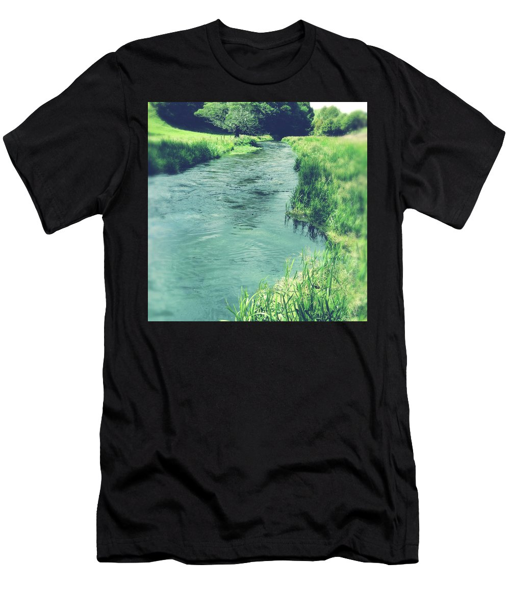 Blue Men's T-Shirt (Athletic Fit) featuring the photograph Spring Water by Les Cunliffe