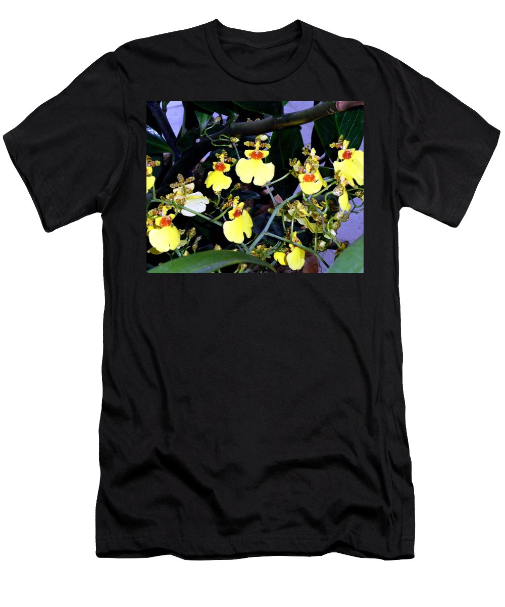 Orchids Men's T-Shirt (Athletic Fit) featuring the photograph A Ballet Of Tiny Orchids by Mindy Newman
