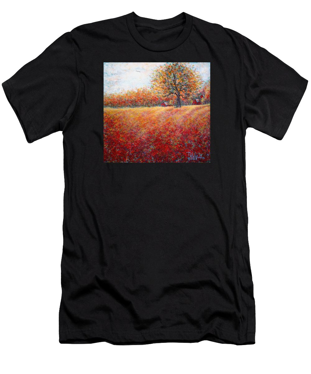 Autumn Landscape Men's T-Shirt (Athletic Fit) featuring the painting A Beautiful Autumn Day by Natalie Holland