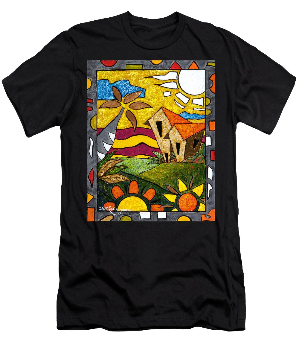 Puerto Rico T-Shirt featuring the painting A Beautiful Day by Oscar Ortiz