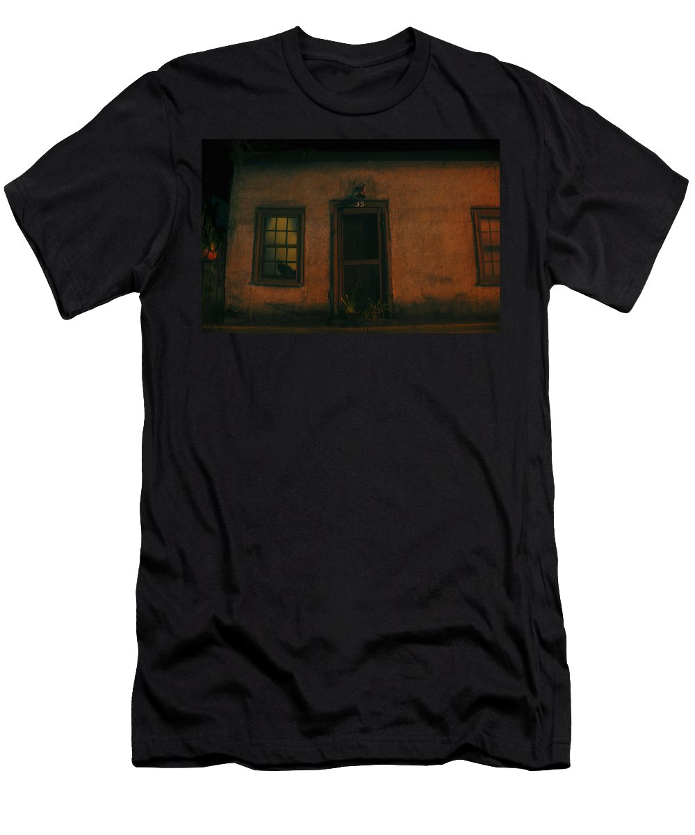 Black Cat Men's T-Shirt (Athletic Fit) featuring the photograph A Black Cat's Night by David Lee Thompson