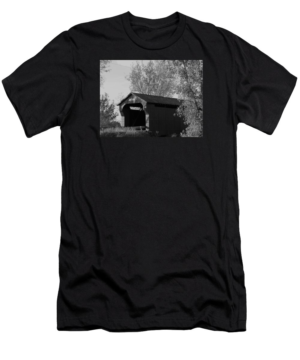 Covered Bridge Men's T-Shirt (Athletic Fit) featuring the photograph A Bridge To The Past by William Caine