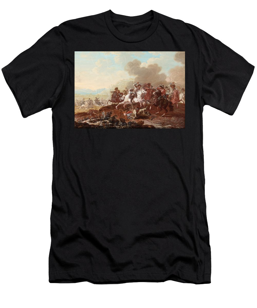 Georg Philipp Rugendas The Elder - A Cavalry Skirmish Men's T-Shirt (Athletic Fit) featuring the painting A Cavalry Skirmish by MotionAge Designs