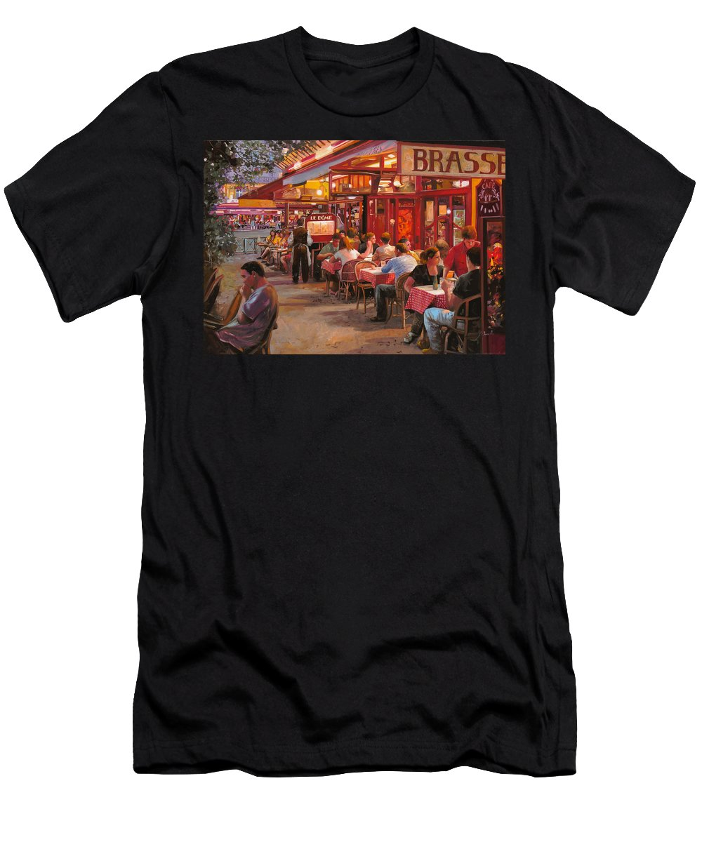 Street Scene Men's T-Shirt (Athletic Fit) featuring the painting A Cena In Estate by Guido Borelli