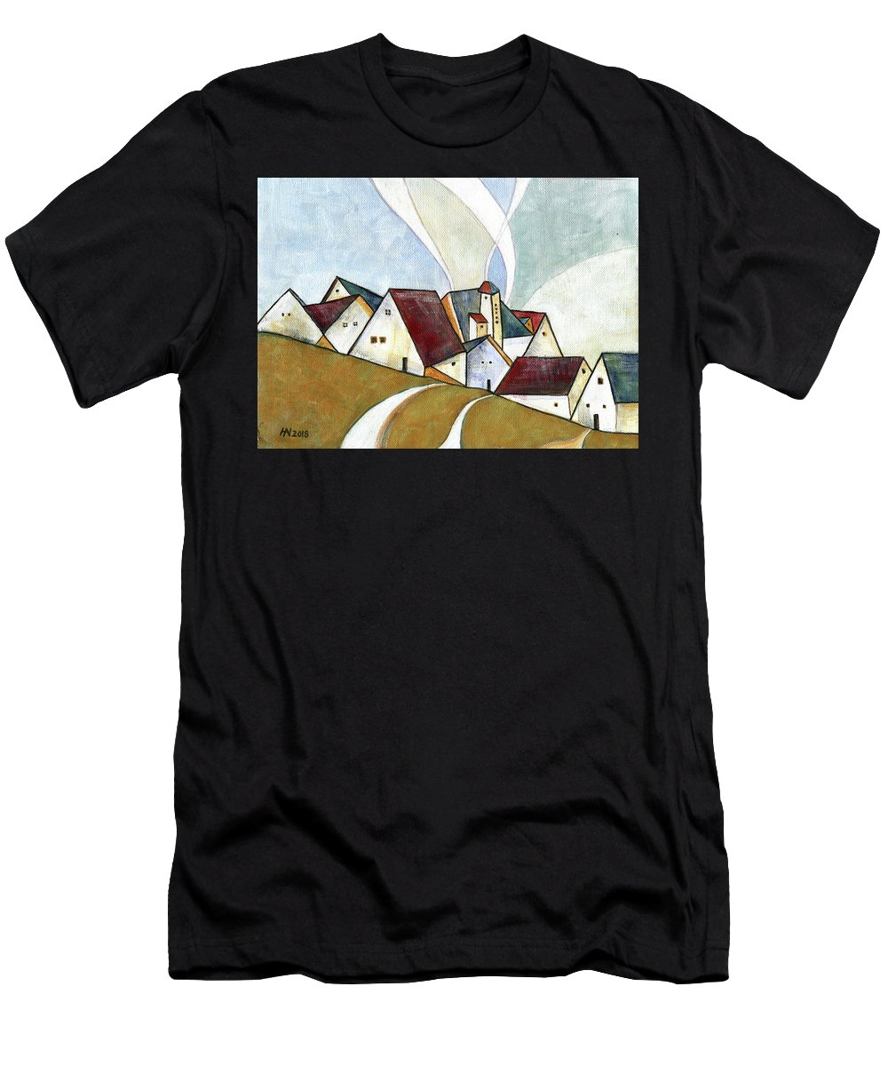 Original Art Men's T-Shirt (Athletic Fit) featuring the painting  A Cold Day by Aniko Hencz