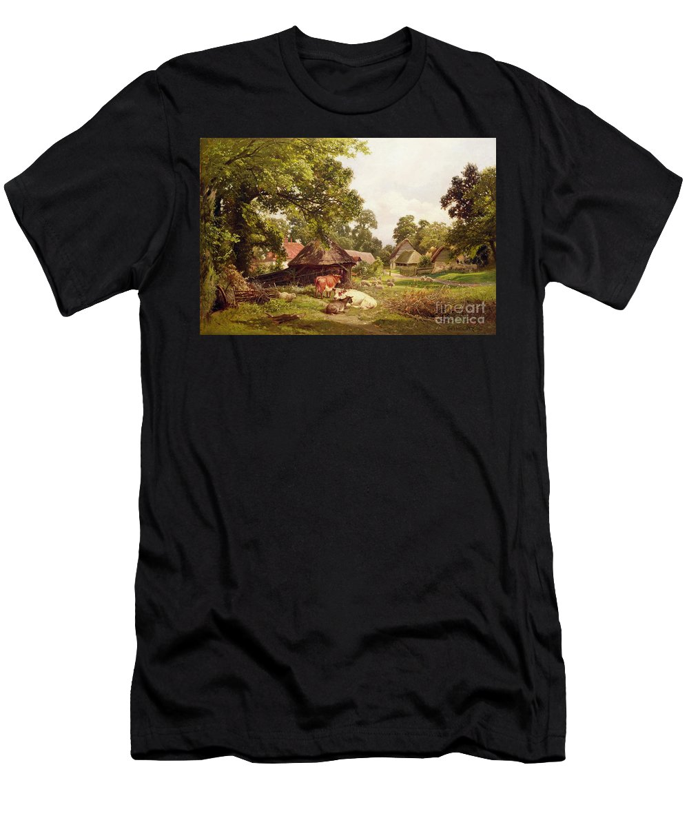 Cottage Men's T-Shirt (Athletic Fit) featuring the painting A Cottage Home In Surrey by Edward Henry Holder