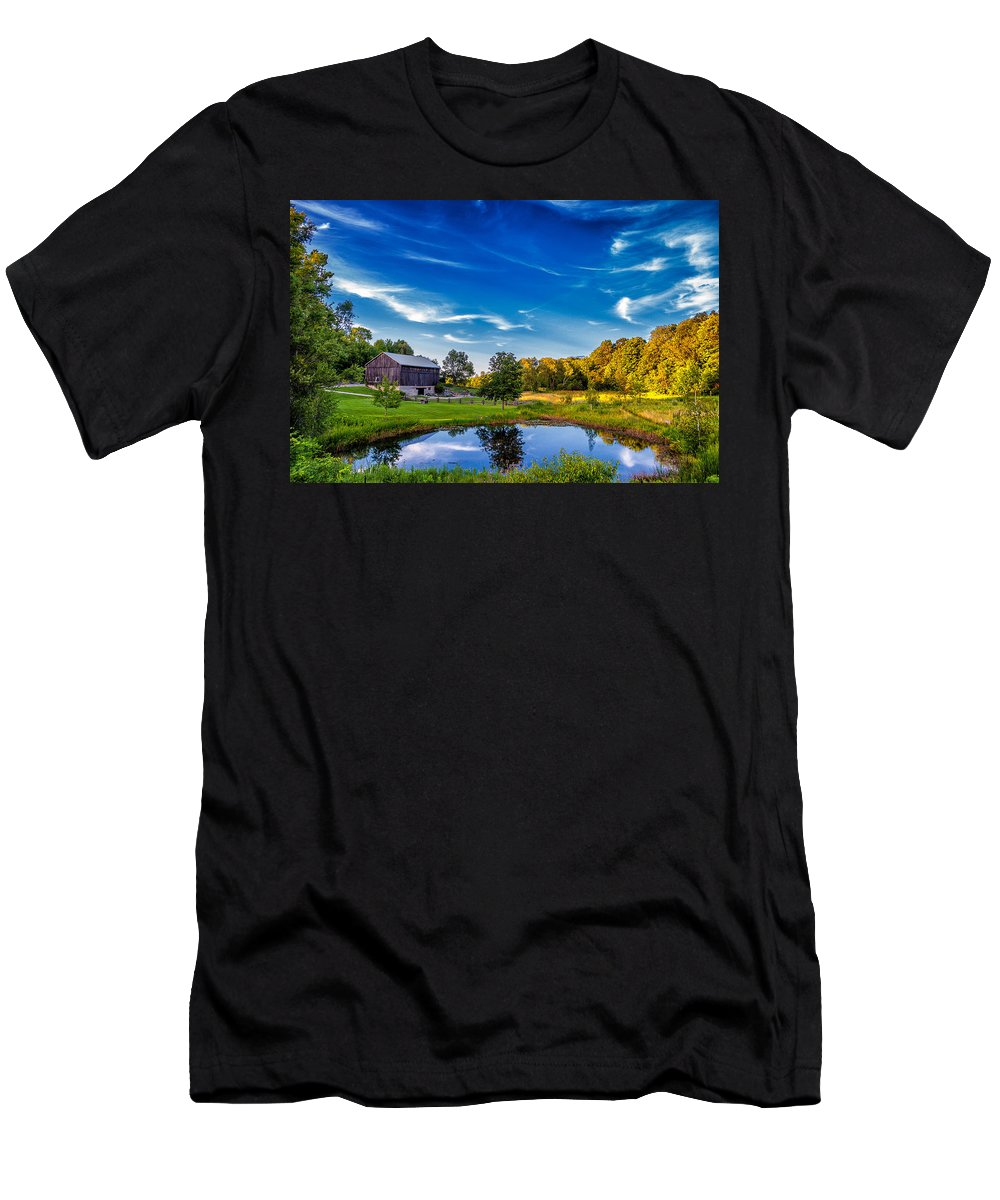 Pond Men's T-Shirt (Athletic Fit) featuring the photograph A Country Place by Steve Harrington