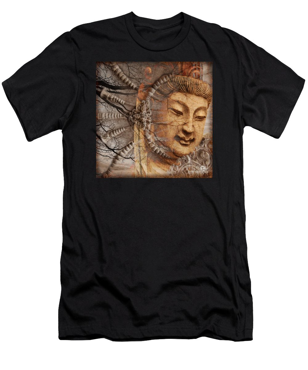 Guan Yin Men's T-Shirt (Athletic Fit) featuring the digital art A Cry Is Heard by Christopher Beikmann