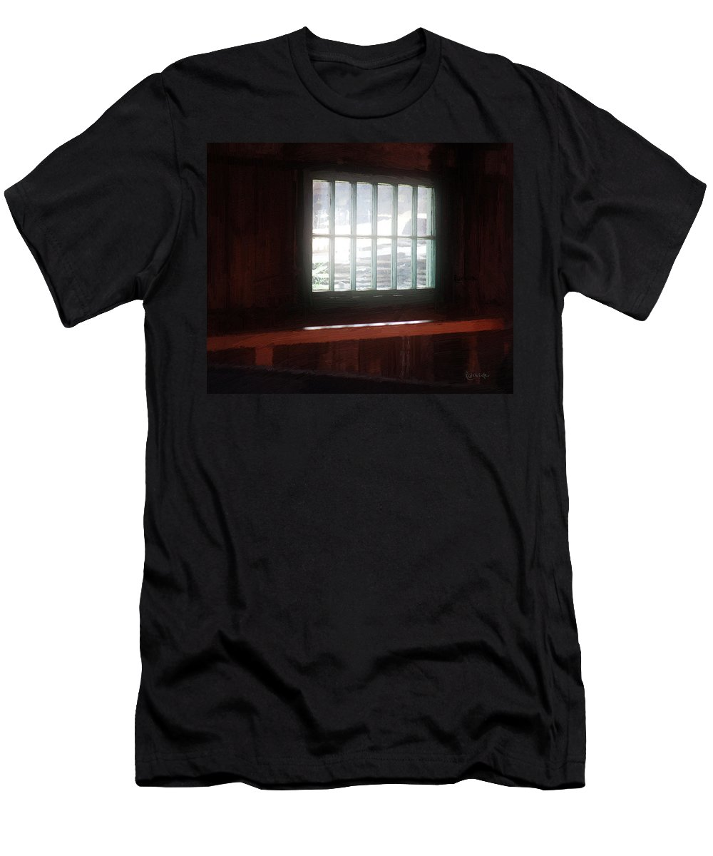 Window Men's T-Shirt (Athletic Fit) featuring the painting A Dark And Fearsome Place by RC DeWinter