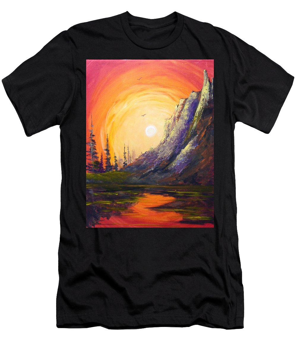 Mountain Men's T-Shirt (Athletic Fit) featuring the painting A Different Look by Glen Mcclements