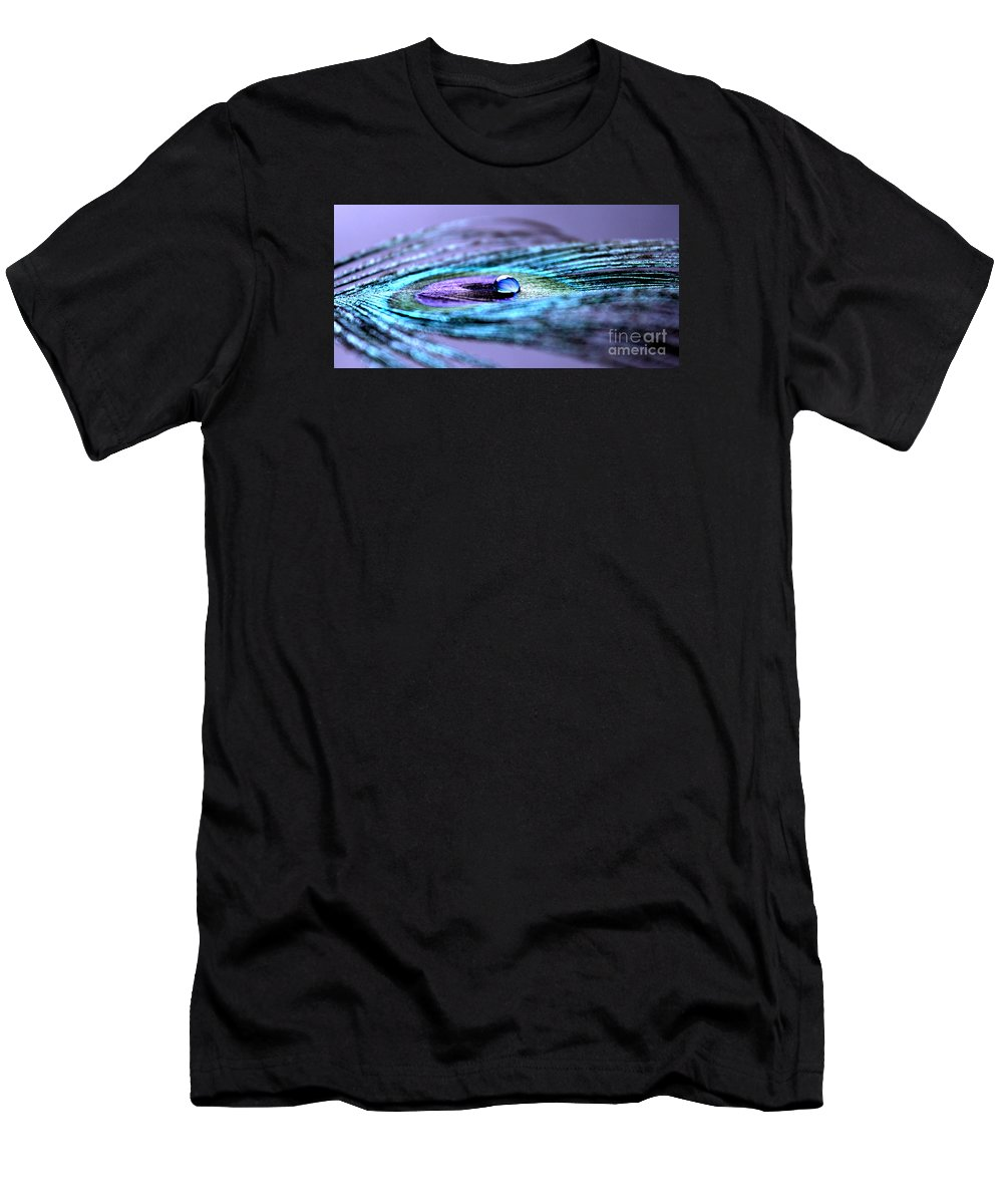 Peacock Feather Men's T-Shirt (Athletic Fit) featuring the photograph A Drop Of Royalty by Krissy Katsimbras