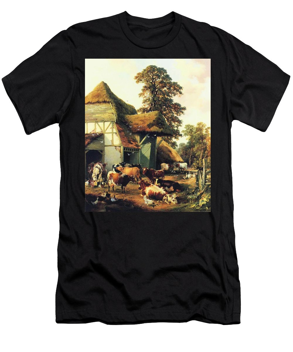 Thomas Sidney Cooper - A Farm In Kent Men's T-Shirt (Athletic Fit) featuring the painting A Farm In Kent by MotionAge Designs