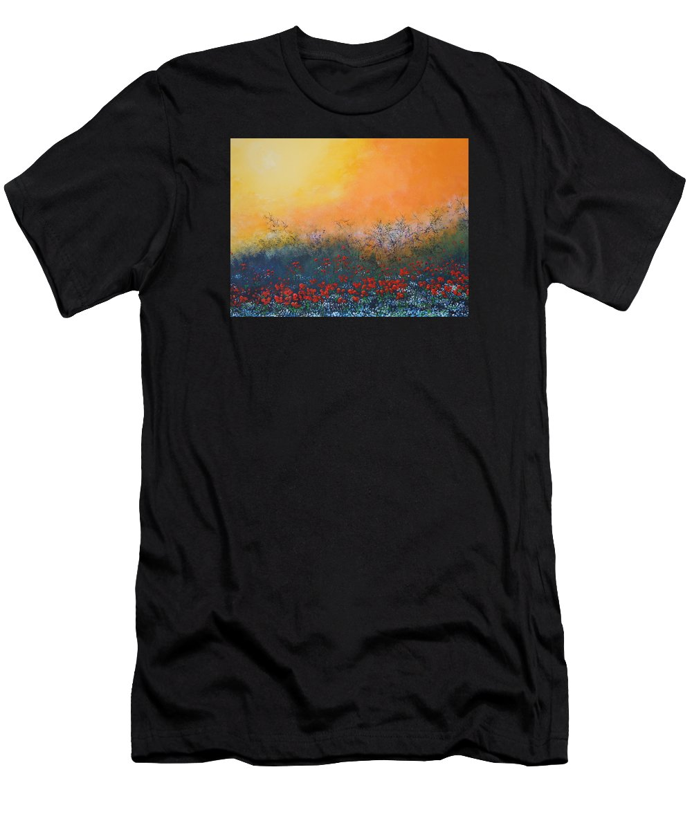 Meadow Men's T-Shirt (Athletic Fit) featuring the painting A Field In Bloom by Dan Whittemore