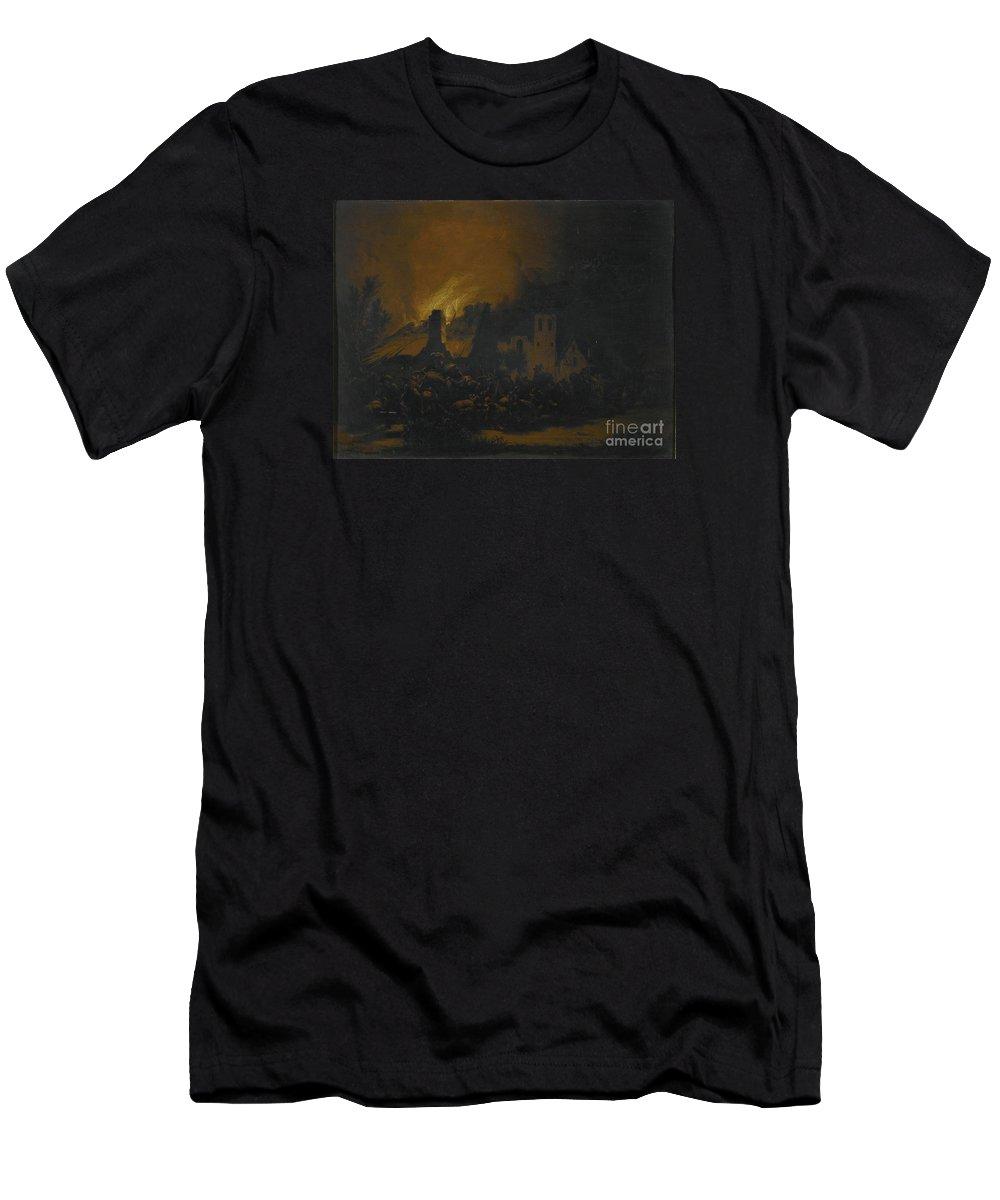 Egbert Lievensz. Van Der Poel A Fire In A Village At Night. Horse Men's T-Shirt (Athletic Fit) featuring the painting A Fire In A Village At Night by MotionAge Designs