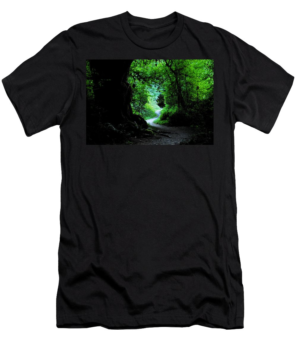 Art Men's T-Shirt (Athletic Fit) featuring the painting A Forest Trail by David Lee Thompson