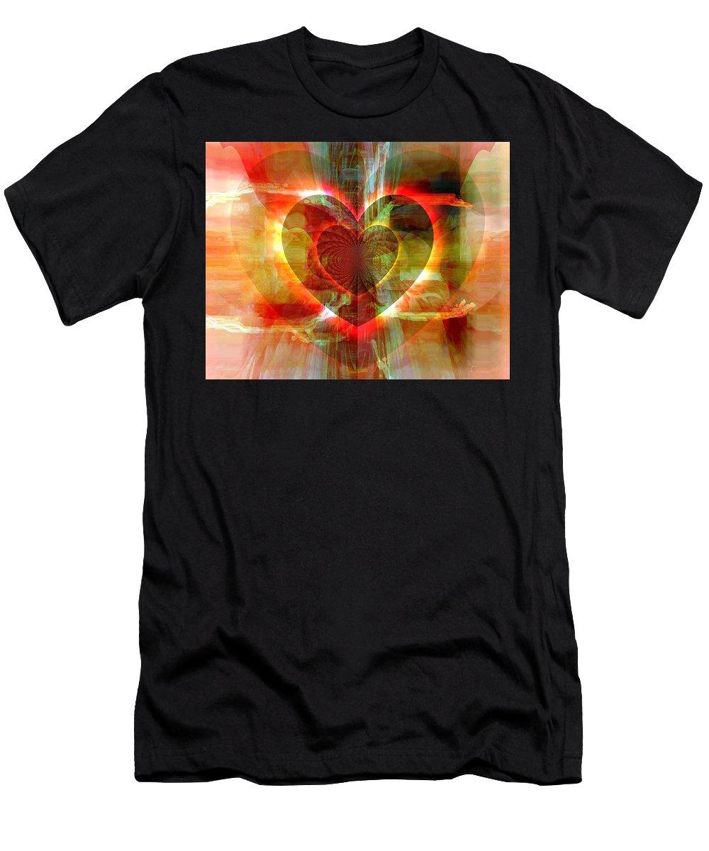 Fania Simon Men's T-Shirt (Athletic Fit) featuring the digital art A Forgiving Heart by Fania Simon