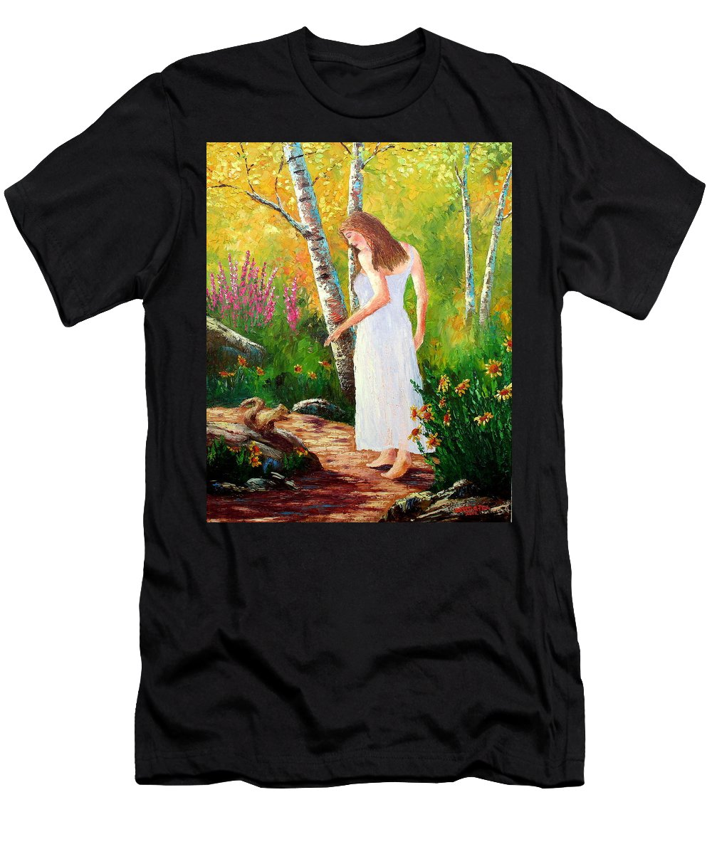 Landscape Men's T-Shirt (Athletic Fit) featuring the painting A Friendly Greeting by David G Paul