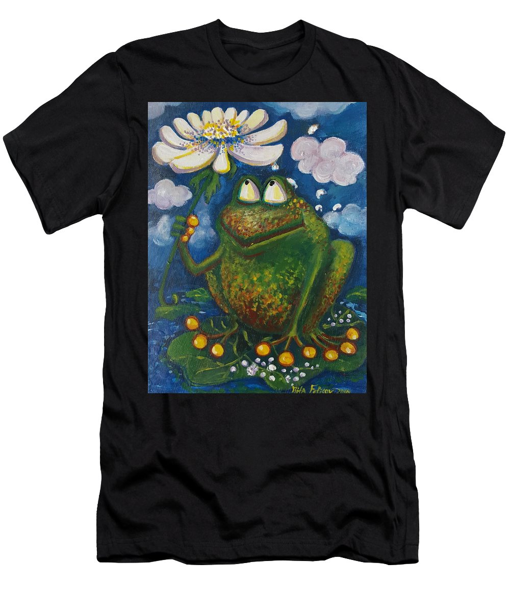 Frog Men's T-Shirt (Athletic Fit) featuring the painting Frog In The Rain by Rita Fetisov