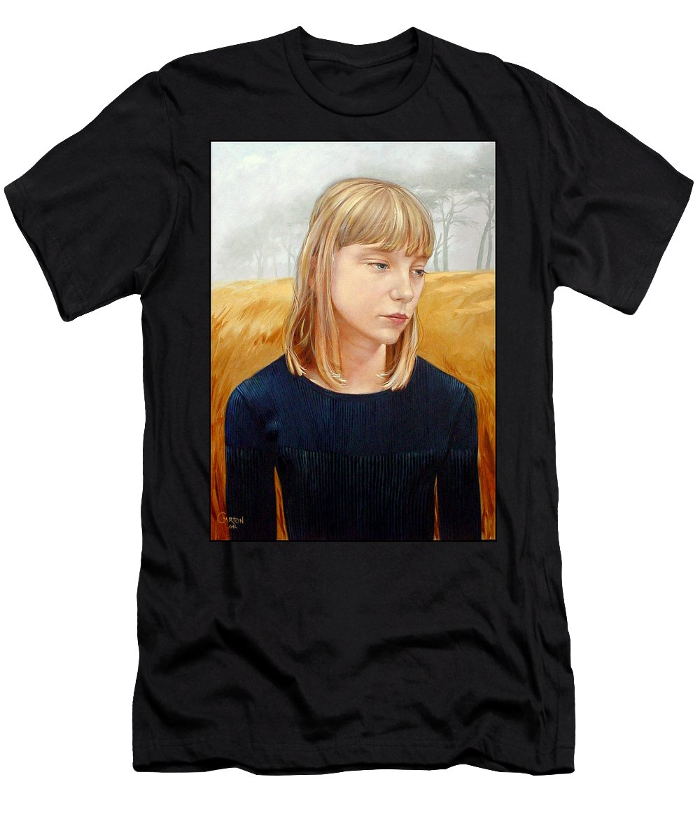 Girl Men's T-Shirt (Athletic Fit) featuring the painting A Gang Of Crows by Jerrold Carton