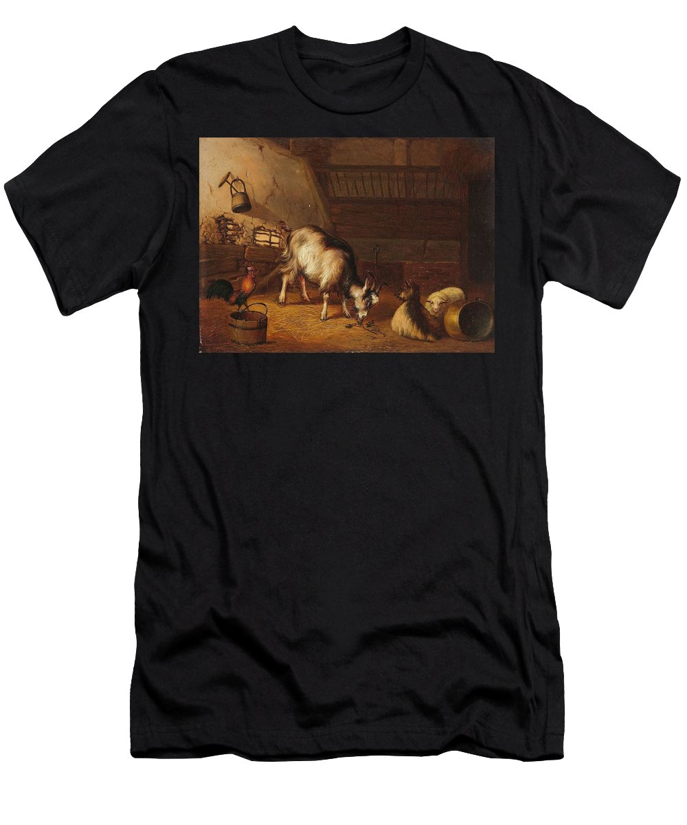 Frans Van Severdonck Men's T-Shirt (Athletic Fit) featuring the painting A Goat And Two Sheep In A Stable by MotionAge Designs