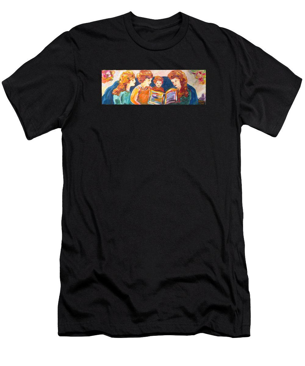 Family Reading Men's T-Shirt (Athletic Fit) featuring the painting A Good Read by Naomi Gerrard