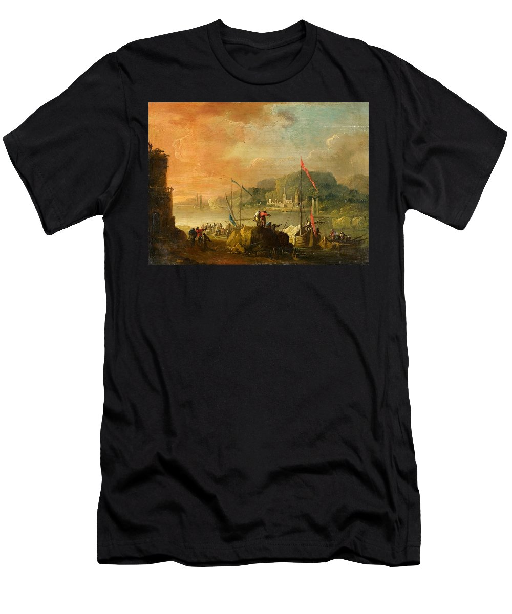 Christian Wilhelm Ernst Dietrich Men's T-Shirt (Athletic Fit) featuring the painting A Harbour View by MotionAge Designs