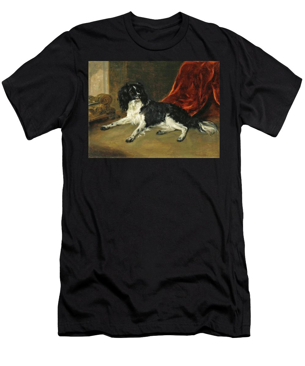 Richard Ramsay Reinagle - A King Charles Spaniel By A Fireplace 1842 Men's T-Shirt (Athletic Fit) featuring the painting A King Charles Spaniel by MotionAge Designs