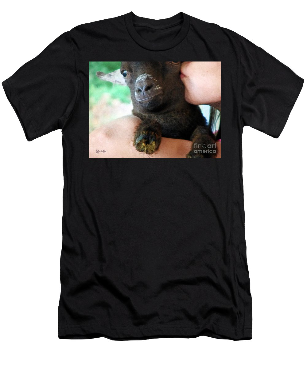 Girl Men's T-Shirt (Athletic Fit) featuring the painting A Kiss For The Kid by RC DeWinter