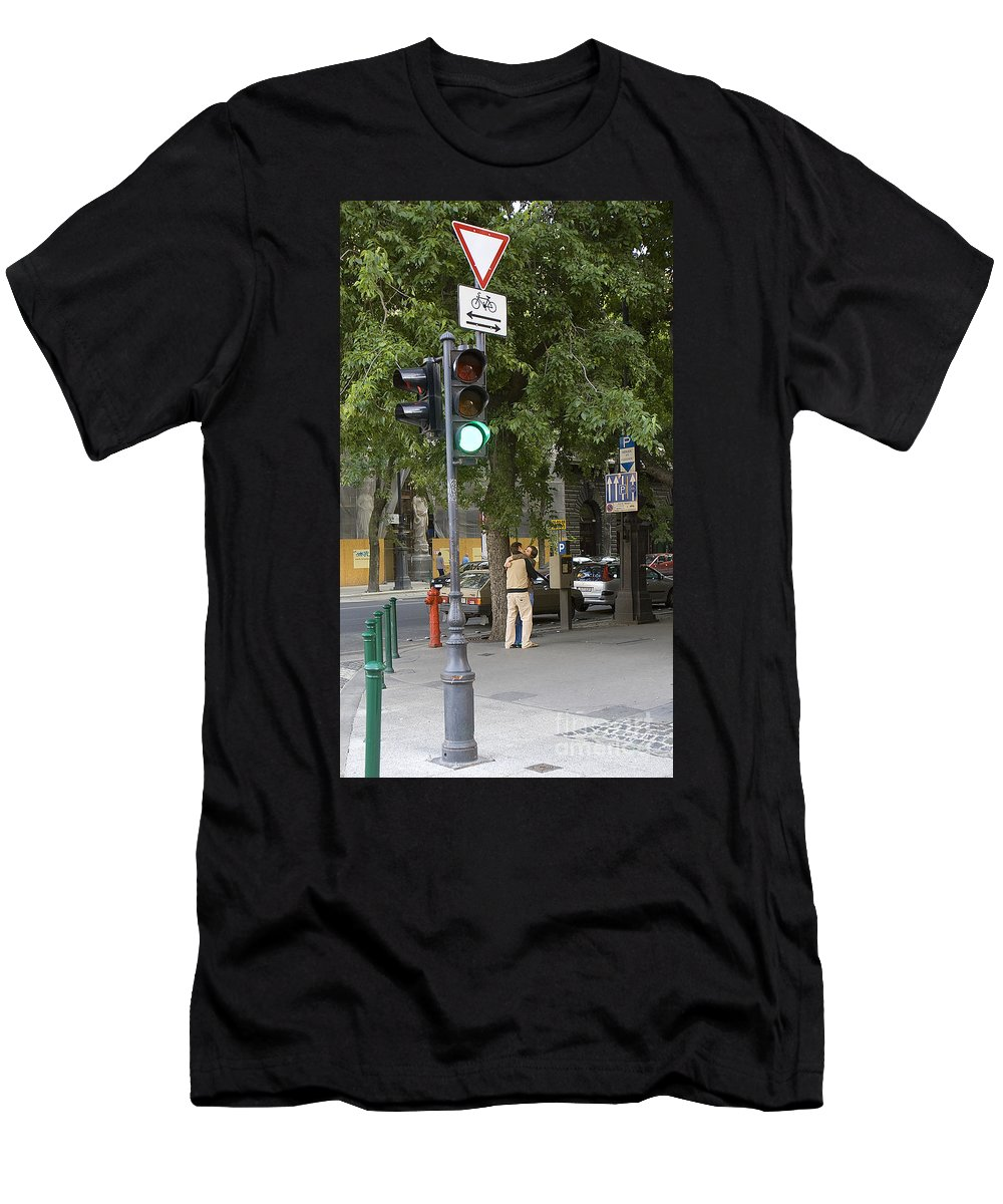 Kiss Men's T-Shirt (Athletic Fit) featuring the photograph A Kiss In Budapest by Madeline Ellis