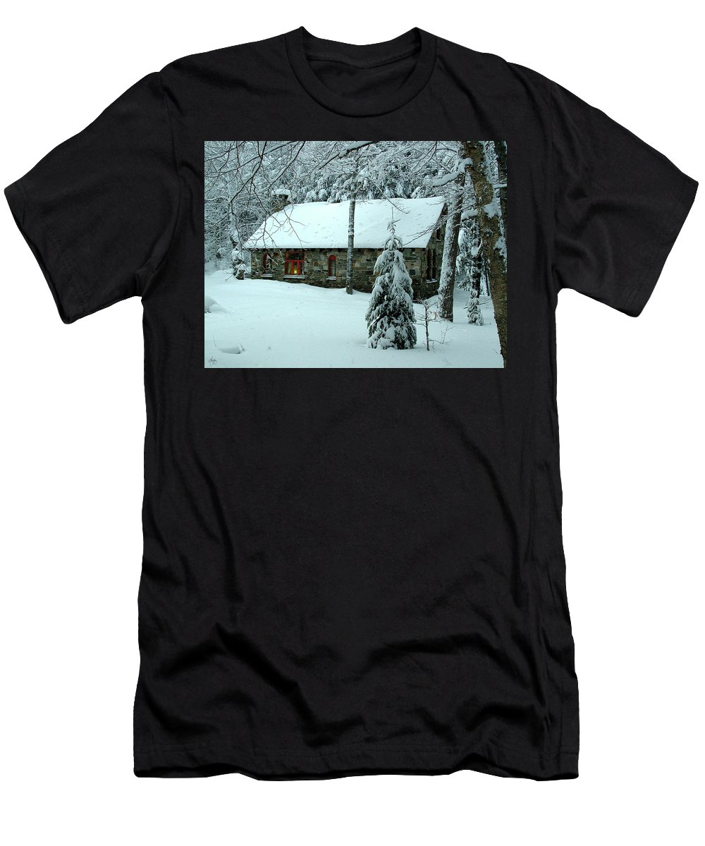Stone Men's T-Shirt (Athletic Fit) featuring the photograph A Light In The Stone House Window by Wayne King