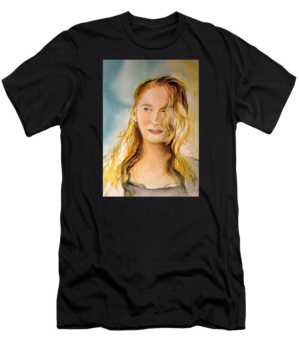 Meryl Streep Men's T-Shirt (Athletic Fit) featuring the painting A Little Bit Of Meryl by Allison Ashton