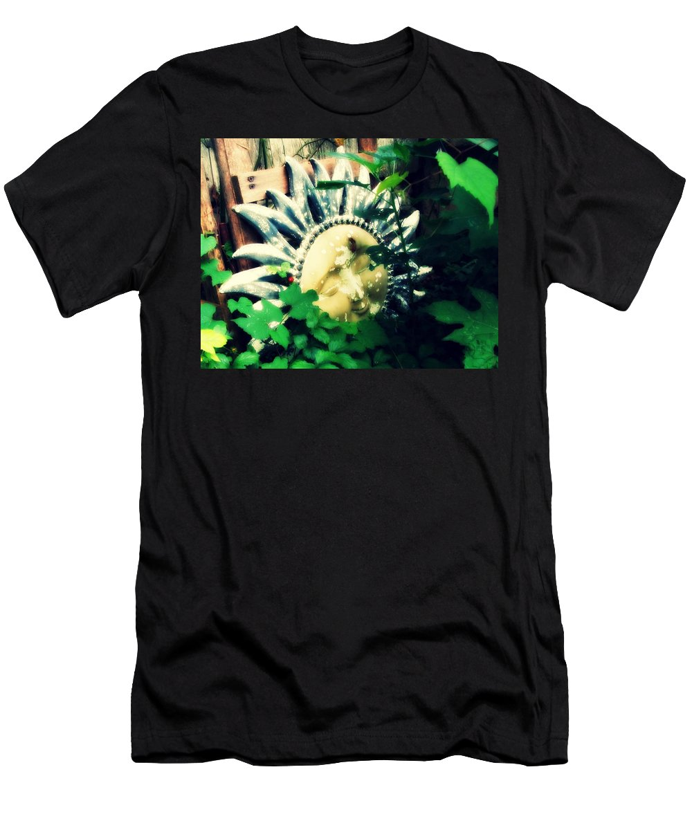Sunshine Men's T-Shirt (Athletic Fit) featuring the photograph A Little Piece Of Sunshine In Ma's Garden by Lisa Victoria Proulx