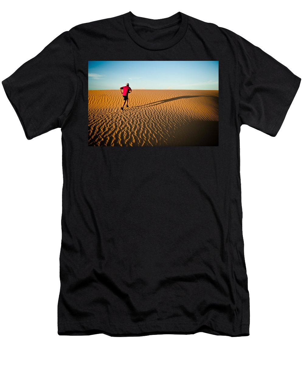 Running Men's T-Shirt (Athletic Fit) featuring the photograph A Long Desert Run by Scott Sawyer